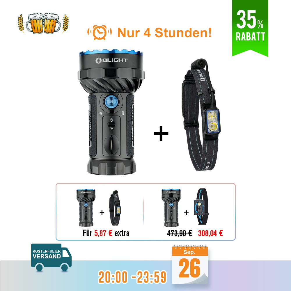 Olight Marauder 2 Taschenlampe Schwarz Bundle