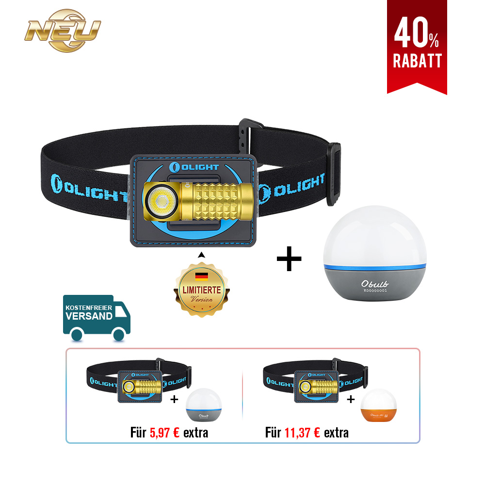 Olight Perun Mini Kit Multifunktionslampe Goldgelb Bundle