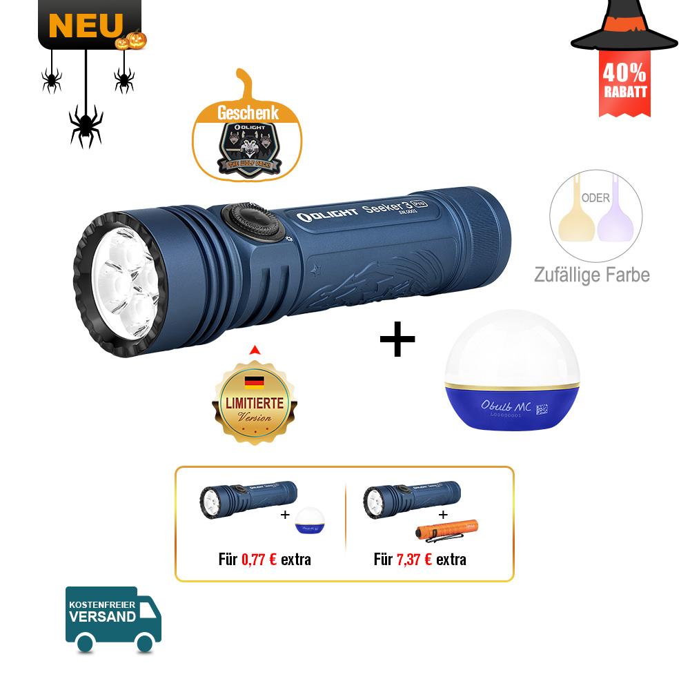 Olight Seeker 3 Pro Taschenlampe Night Wolf (Mitternachtblau) Bundle