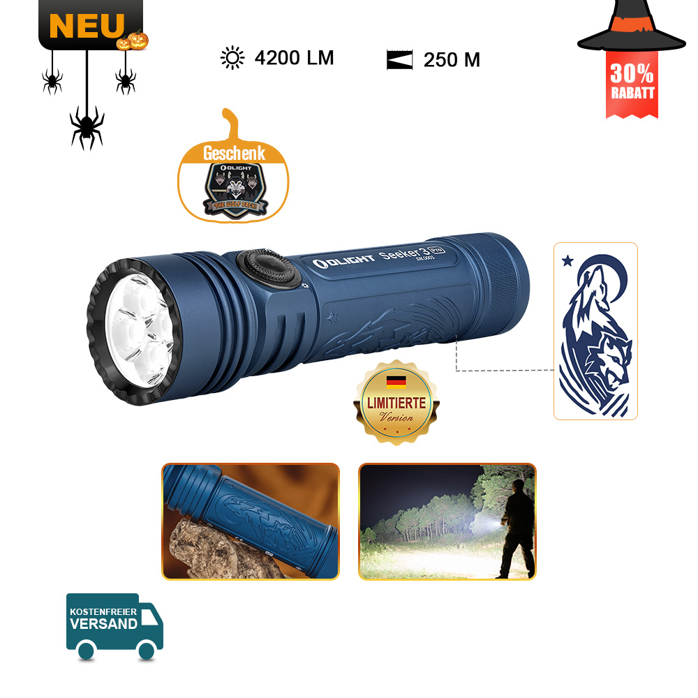 Olight Seeker 3 pro Taschenlampe - Night Wolf (Mitternachtblau)