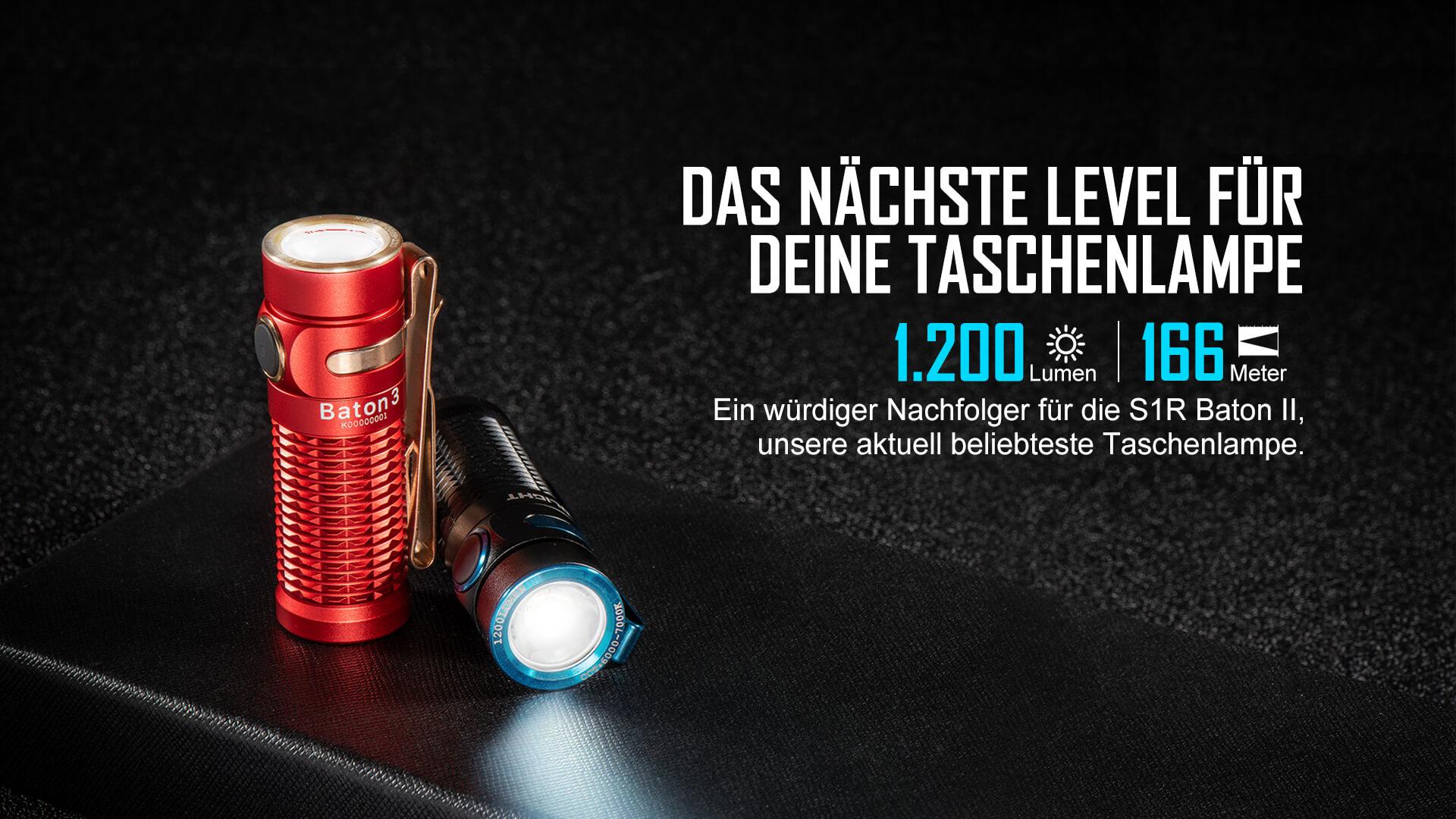 Hohe Leistung von Olight Baton 3 Taschenlampe