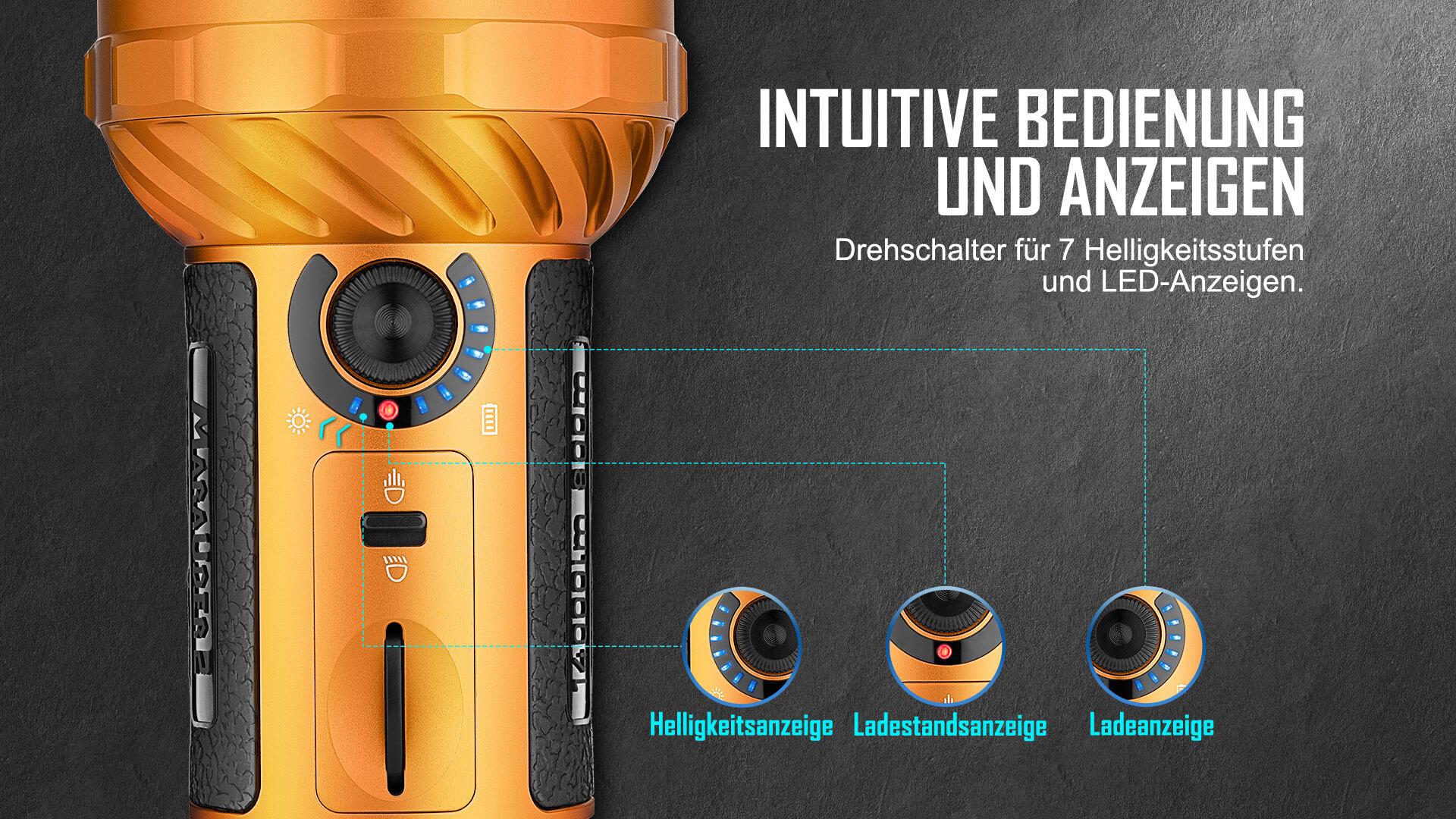 Drehschalter für 7 Helligkeitsstufen und LED-Anzeigen