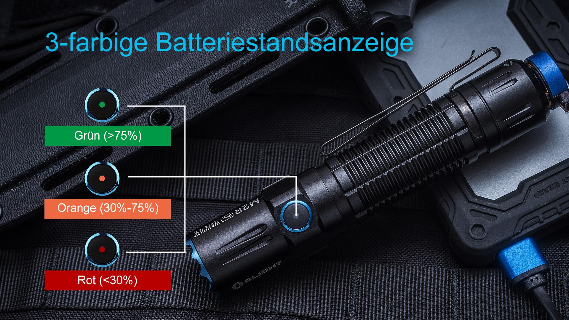 Olight M2R Pro Taschenlampe mit der LED-Ladestandanzeige