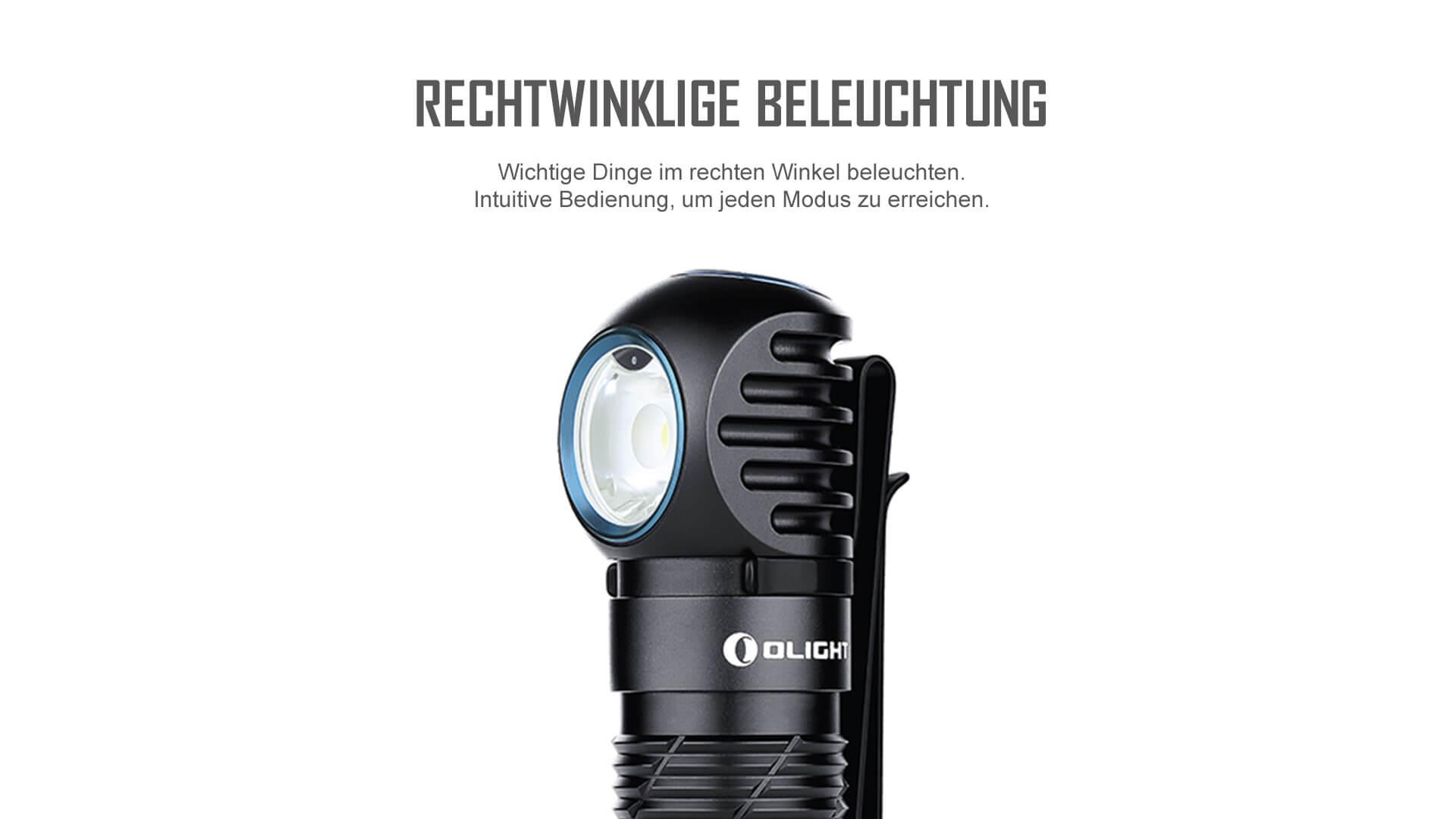 Rechtwinklige Beleuchtung der Perun 2 Stirnlampe