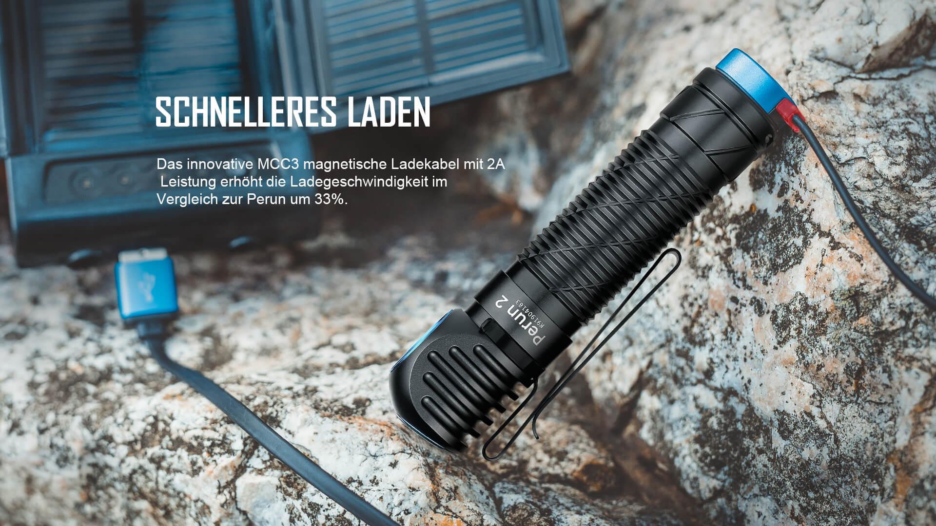 MCC3 magnetisches Ladekabel mit 2A Leistung für Perun 2 Stirnlampe