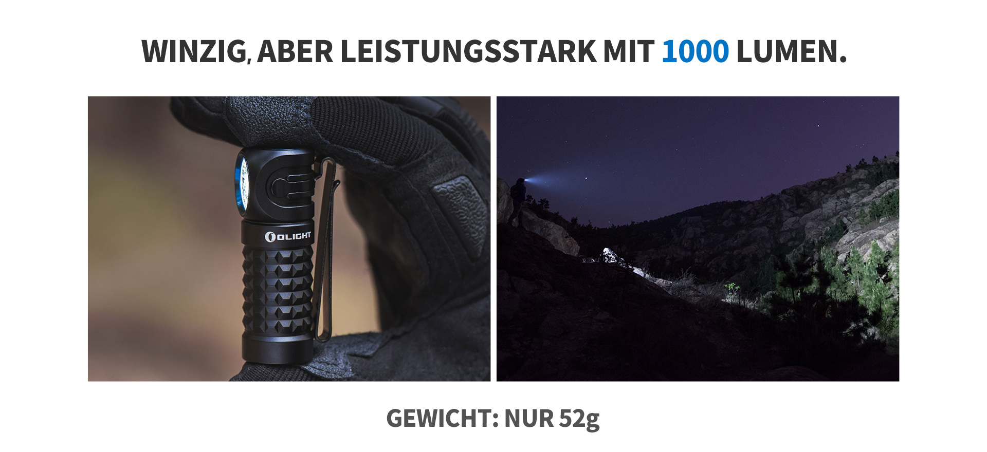 Perun mini taschenlampe 1000 lumen